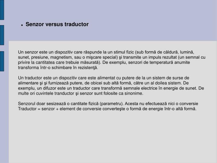 Senzor versus traductor