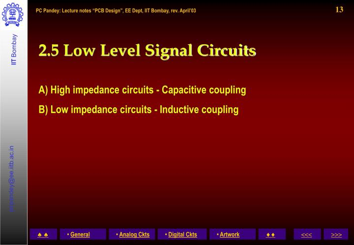 2.5 Low Level Signal Circuits