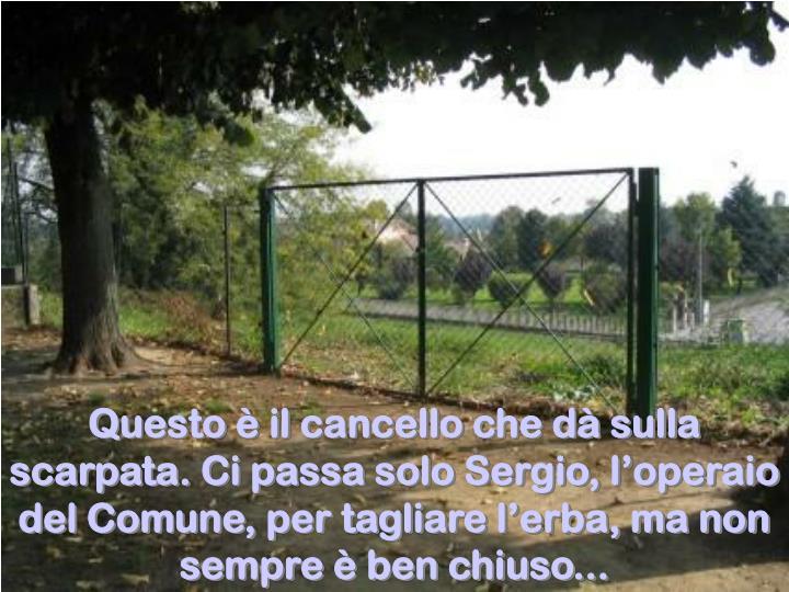 Questo è il cancello che dà sulla scarpata. Ci passa solo Sergio, l'operaio del Comune, per tagliare l'erba, ma non sempre è ben chiuso...