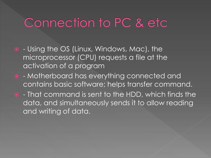 Connection to PC &