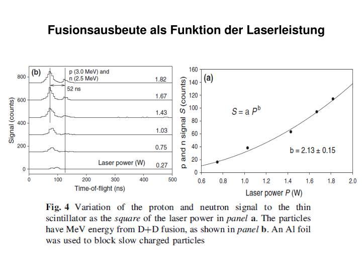 Fusionsausbeute als Funktion der Laserleistung