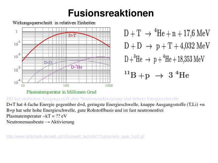 Fusionsreaktionen