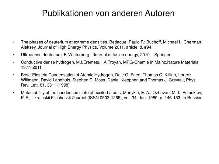 Publikationen von anderen Autoren