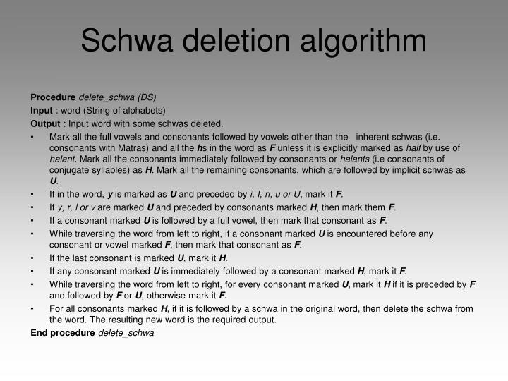Schwa deletion algorithm