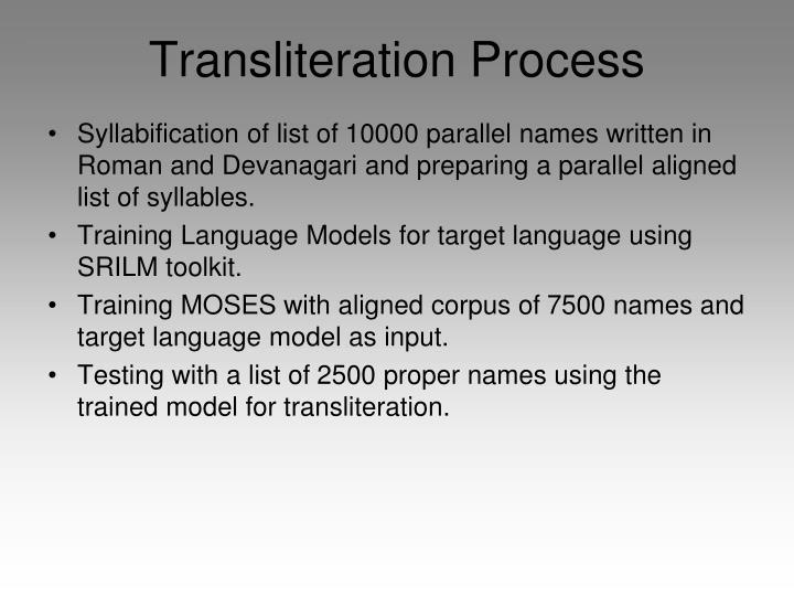 Transliteration Process