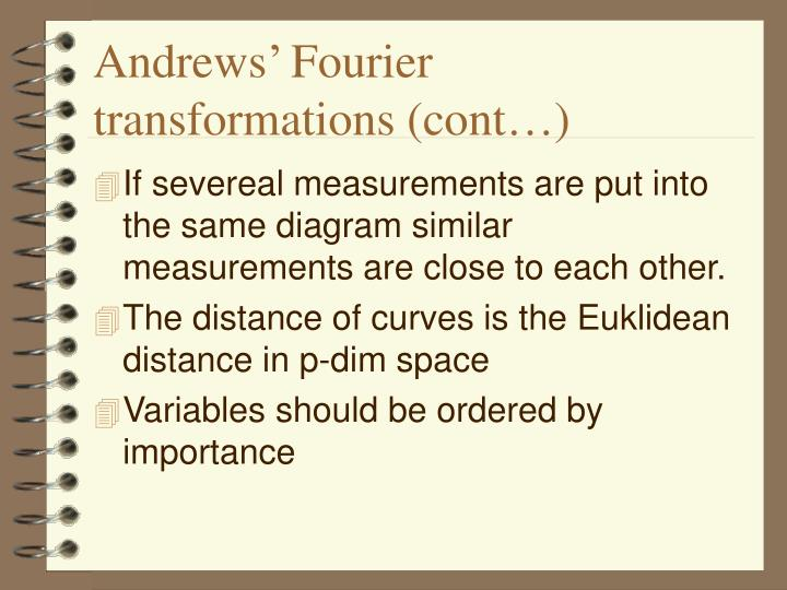 Andrews' Fourier transformations (cont…)