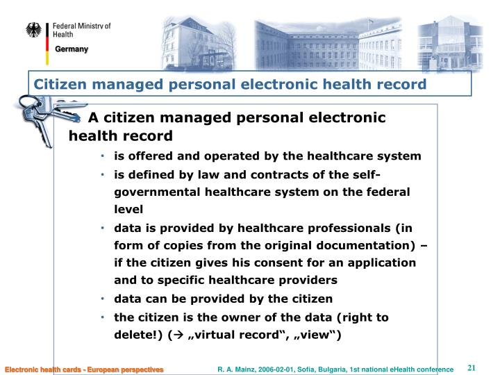 Citizen managed personal electronic health record