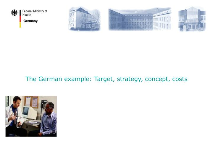The German example: Target, strategy, concept, costs