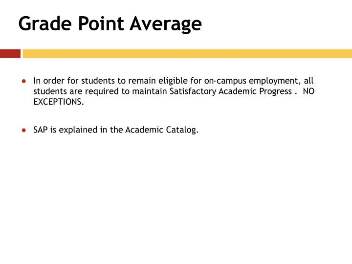 Grade Point Average