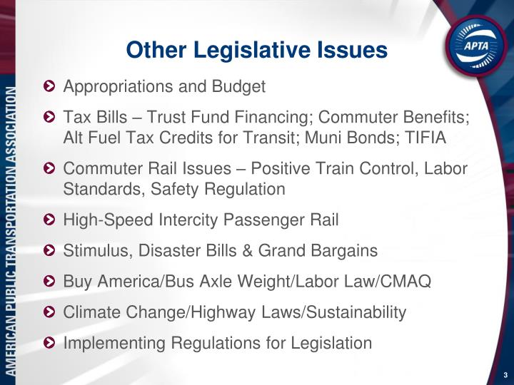 Other legislative issues