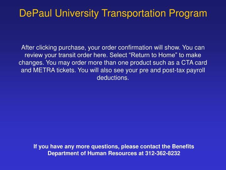 DePaul University Transportation Program