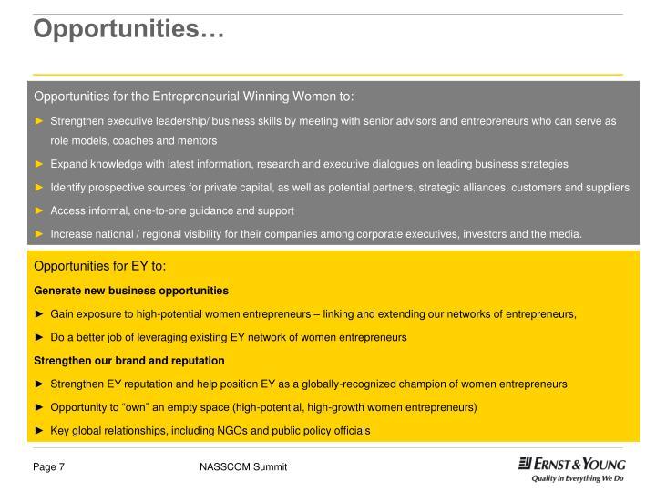 Opportunities…