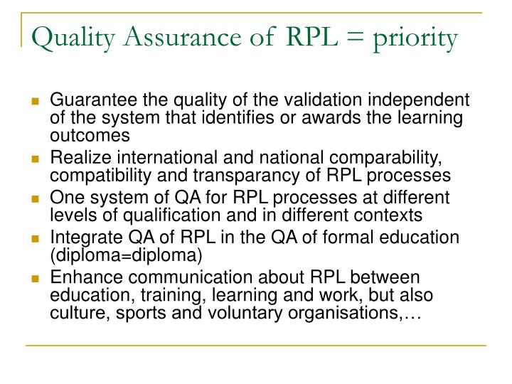 Quality Assurance of RPL = priority
