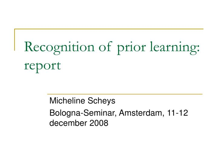 recognition of prior learning report