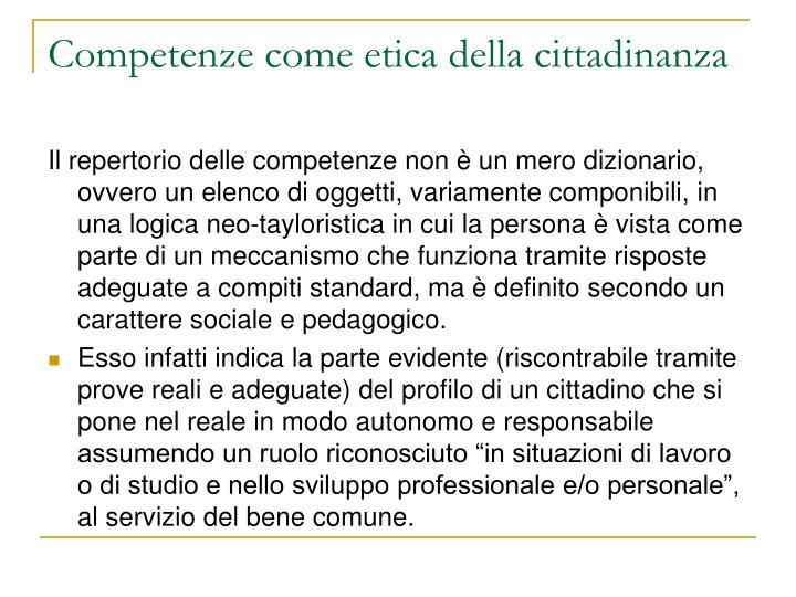 Competenze come etica della cittadinanza