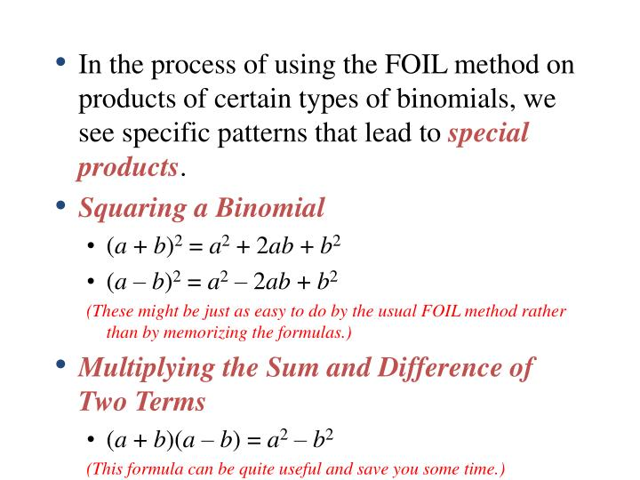 In the process of using the FOIL method on products of certain types of binomials, we see specific patterns that lead to