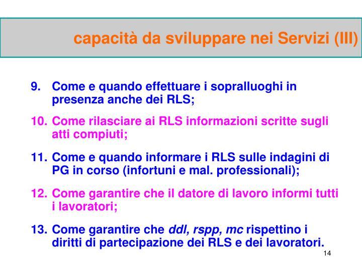 capacità da sviluppare nei Servizi (III)