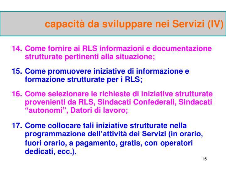 capacità da sviluppare nei Servizi (IV)
