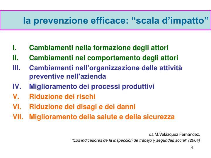 """la prevenzione efficace: """"scala d'impatto"""""""