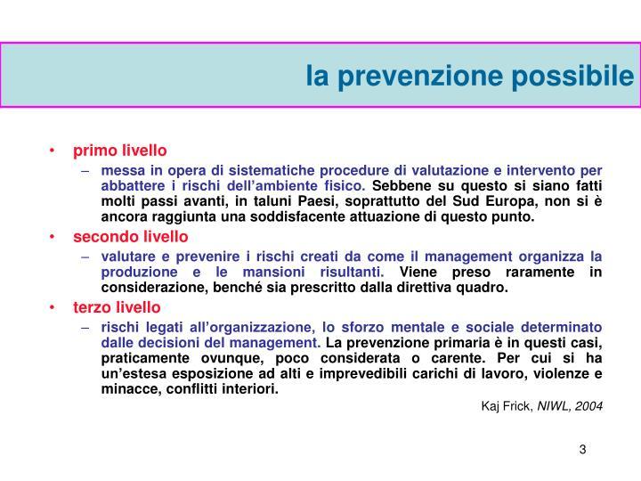 la prevenzione possibile