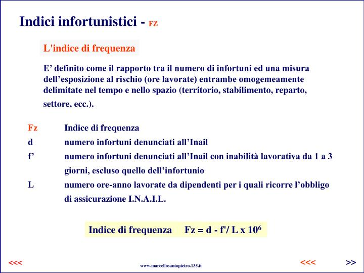 Indici infortunistici -