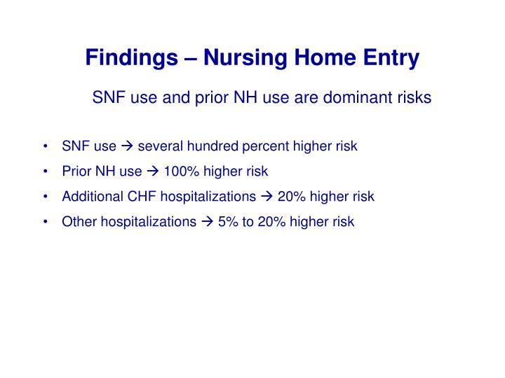 Findings – Nursing Home Entry
