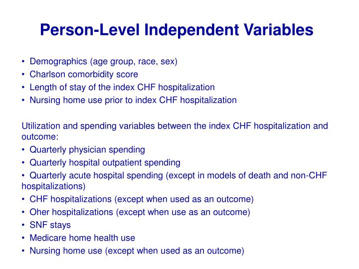 Person-Level Independent Variables