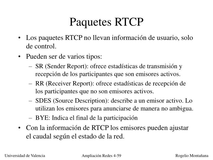 Paquetes RTCP