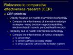 relevance to comparative effectiveness research cer