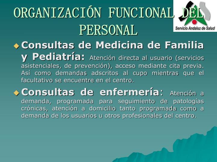 ORGANIZACIÓN FUNCIONAL DEL PERSONAL