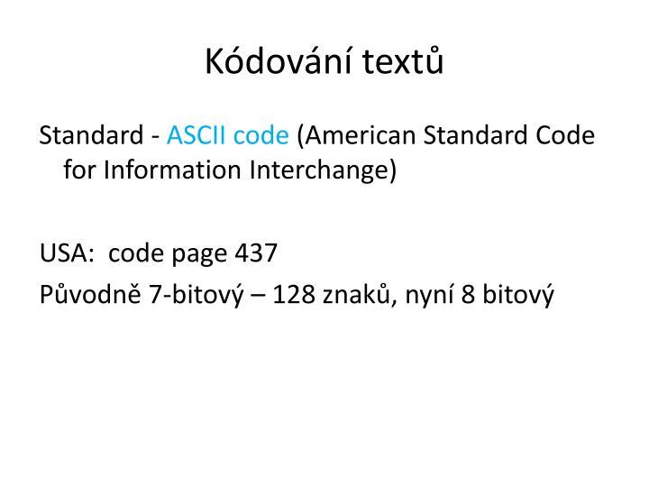 Kódování textů