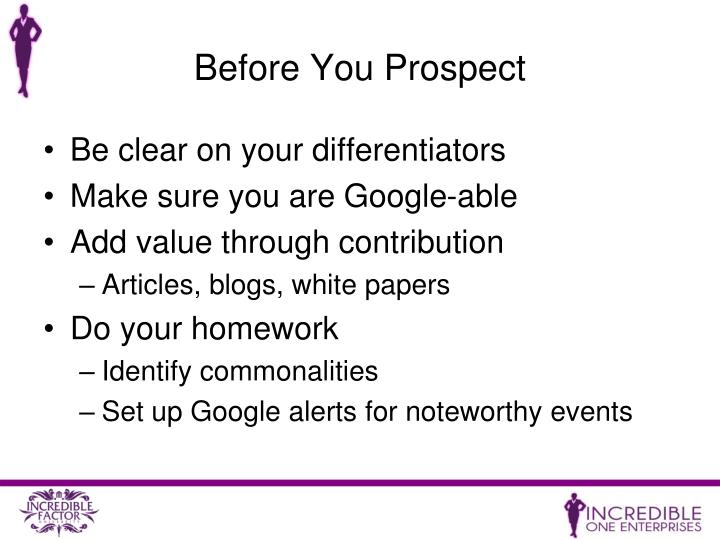 Before You Prospect