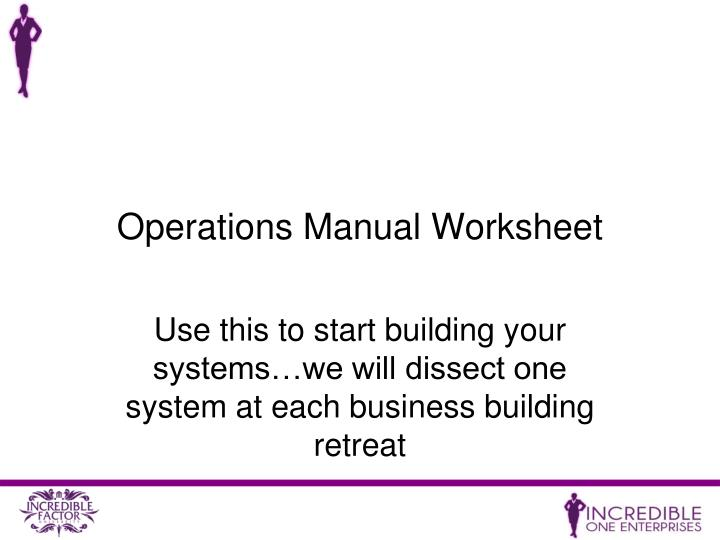 Operations Manual Worksheet