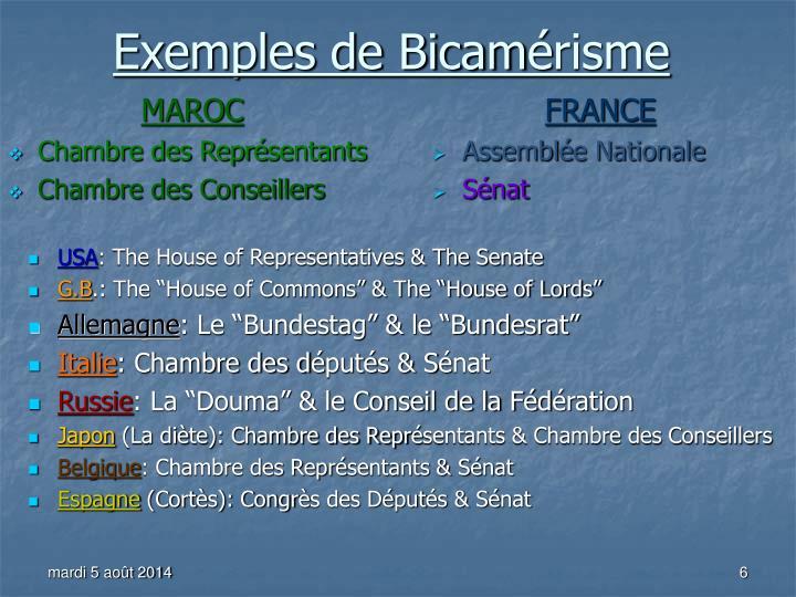 Exemples de Bicam