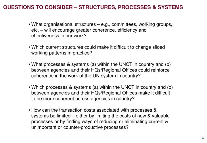 QUESTIONS TO CONSIDER – STRUCTURES, PROCESSES & SYSTEMS