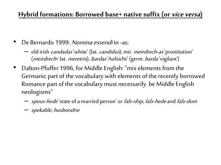 Hybrid formations: Borrowed base+ native suffix (or