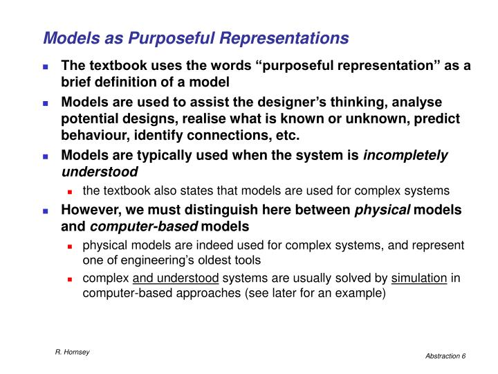 Models as Purposeful Representations