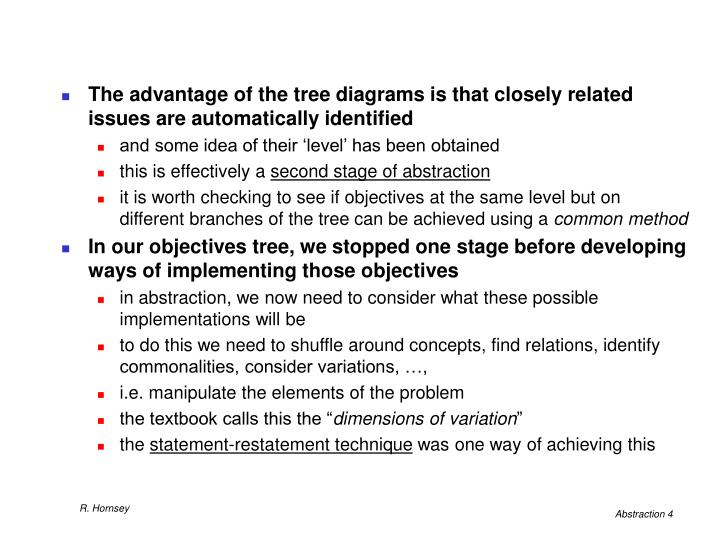 The advantage of the tree diagrams is that closely related issues are automatically identified