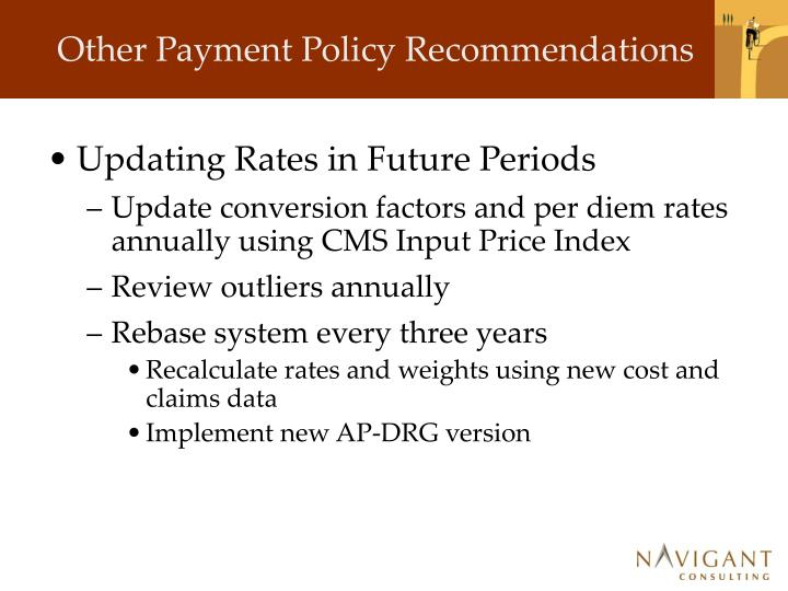 Other Payment Policy Recommendations
