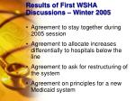 results of first wsha discussions winter 2005