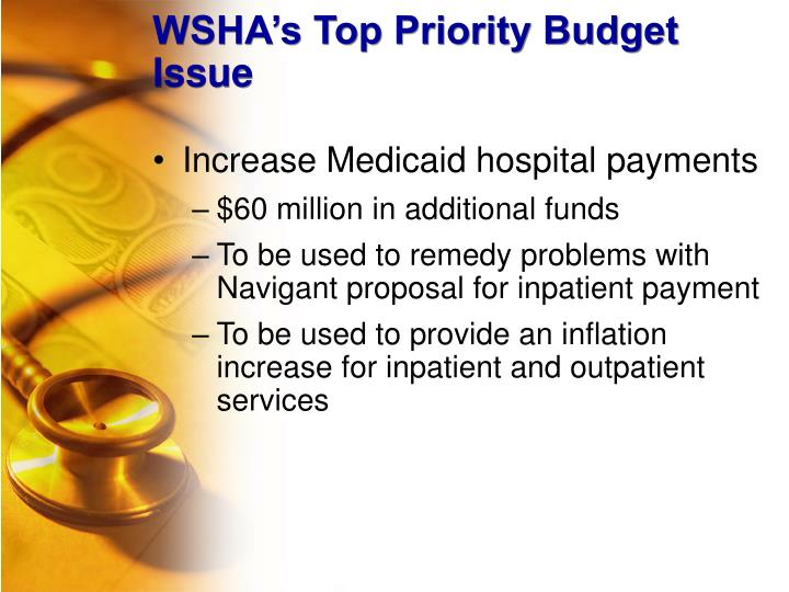 WSHA's Top Priority Budget Issue