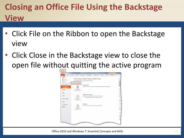 Closing an Office File Using the Backstage View