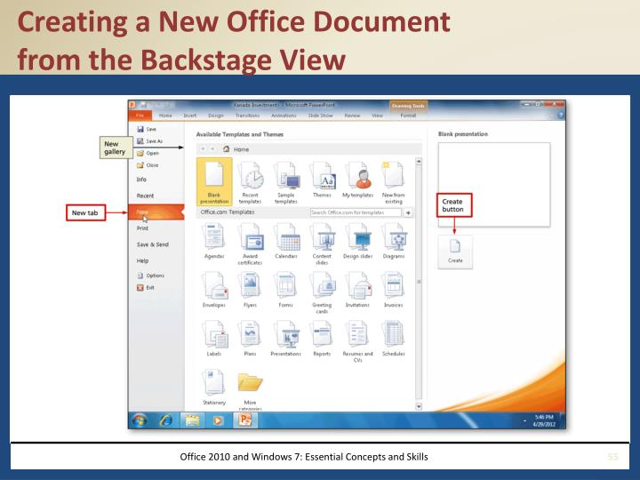 Creating a New Office Document
