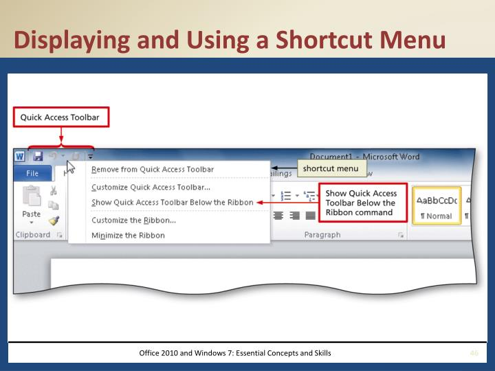 Displaying and Using a Shortcut Menu