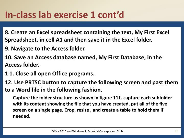 In-class lab exercise 1 cont'd