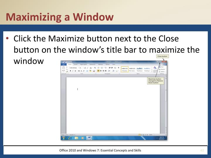 Maximizing a Window
