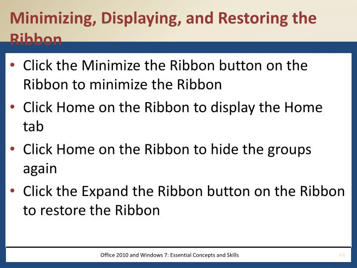Minimizing, Displaying, and Restoring the Ribbon