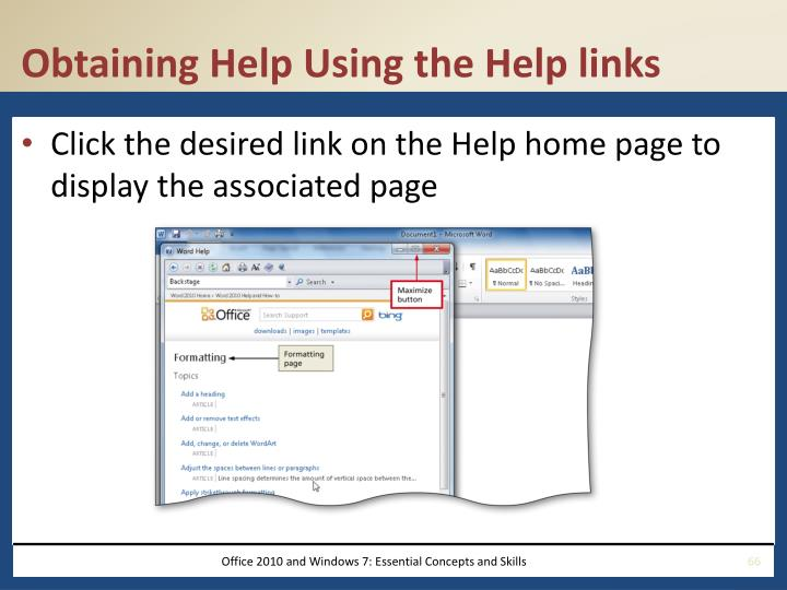Obtaining Help Using the Help links