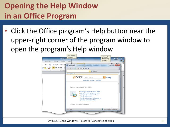 Opening the Help Window