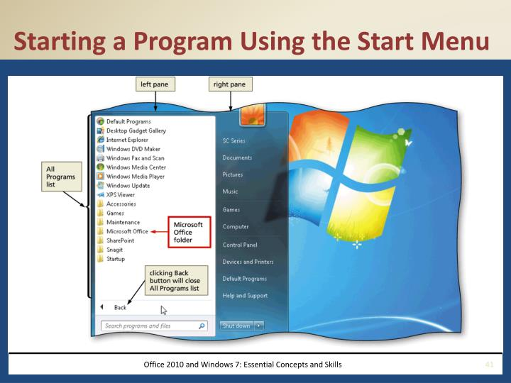 Starting a Program Using the Start Menu
